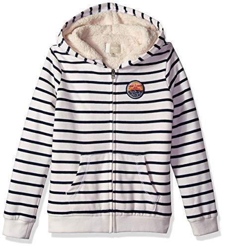 (Roxy Girls' Big Sherpa Lined Zip Up Hooded Fleece Top, Dress Blues Romantic Stripes Gray, 8/S)