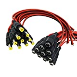 Igreeman 10 Pair DC Power Pigtail Male & Female Cable (Upgrated 18AWG) with 2.1mm x 5.5mm Connectors for Home Security Surveillance Camera Power Adapter and Party lighting Power Connection