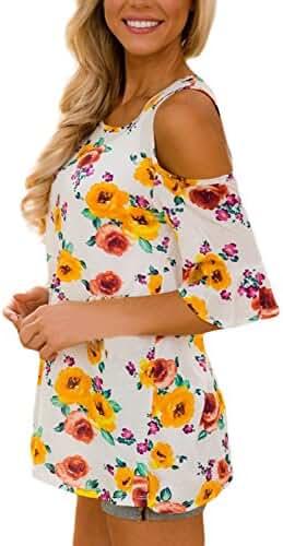 Annflat Women's Floral Print Cut Out Shoulder Short Sleeve T Shirt Blouse(7 Color,S-XXL)