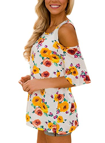 Asvivid Womens Floral Print Cut Out Shoulder Short Sleeve T Shirt Blouse Large Yellow