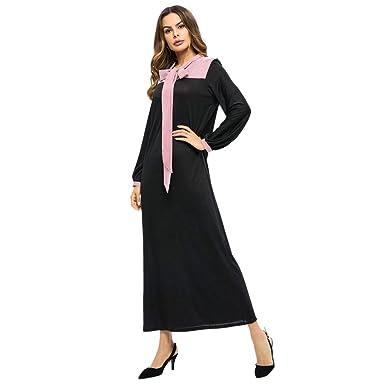 cd77161991 Tootu Women Striped Dress Ladies Arab Muslim Long Maxi Skirt Fashion Panel  at Amazon Women's Clothing store: