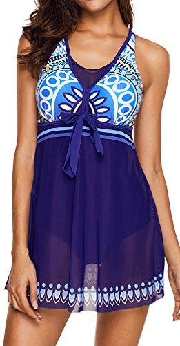 Eudolah UV Schutz Badeanzug Swimwear Badekleid Strandkleid Tankini mit Kurz  Hose Badehose Saphirblau gW9kY 722bda04cc