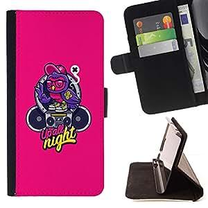 For Samsung Galaxy Note 4 IV Case , Música Texto Graffiti Altavoz- la tarjeta de Crédito Slots PU Funda de cuero Monedero caso cubierta de piel