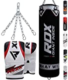 RDX Punch Bag Filled Single Kick Boxing Heavy MMA Training with Punching Mitts Hanging Chain Muay Thai Martial Arts 4FT 5FT