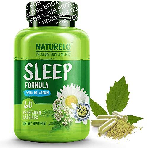 (NATURELO Natural Sleep Aid – with Melatonin, Magnesium, GABA, Valerian Root, Lemon Balm, Chamomile Extracts - Best Natural Sleeping Aid - 60 Vegan Capsules)