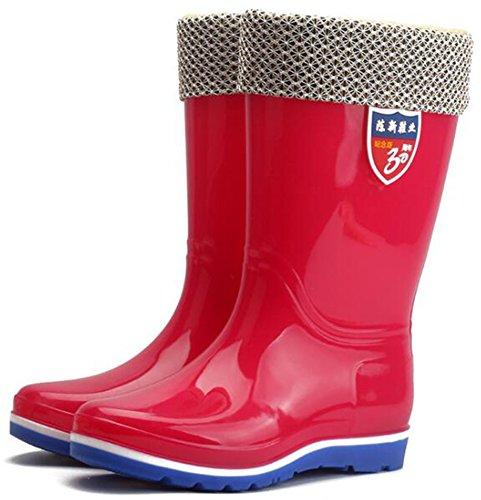 Idifu Donna Caldo Pile Foderato Zeppa Bassa Con Zeppa Su Stivali Da Pioggia Metà Polpaccio Wellies Rosso 1