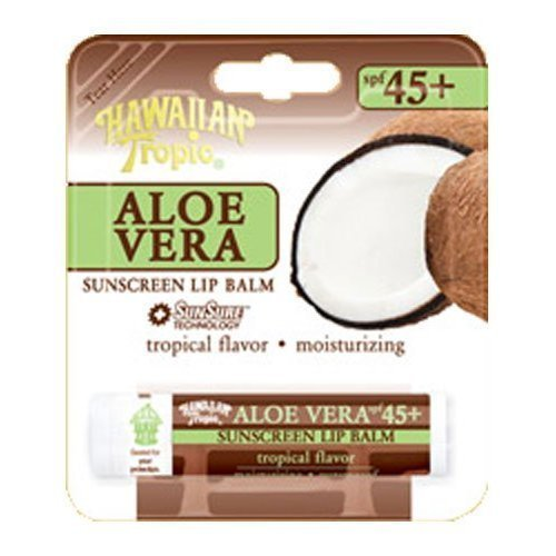 Hawaiian Tropic Aloe Vera Sunscreen Lip Balm SPF 45+ - Tropical Flavor 0.14 Ounces (Pack of 3)