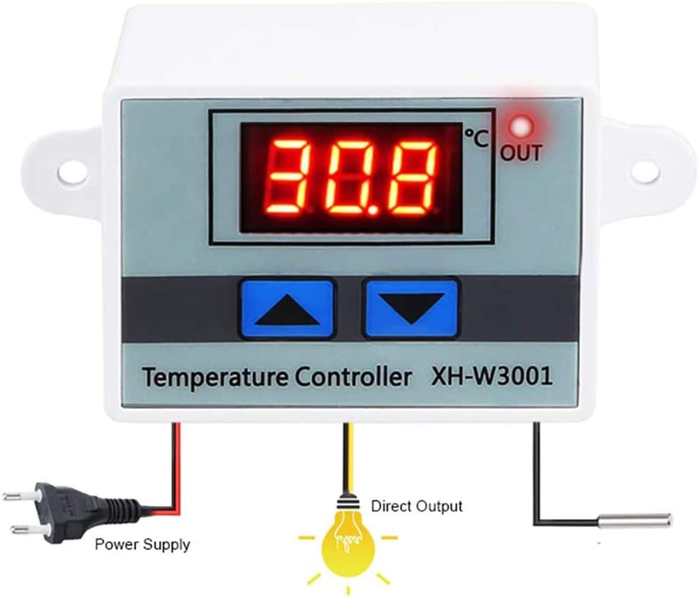 Controlador de temperatura Lemonbest 12V 10A Controlador de temperatura digital Pantalla LED con sonda impermeable NTC10K 1m para fermentación de fermentación Calefacción y enfriamiento del congelador