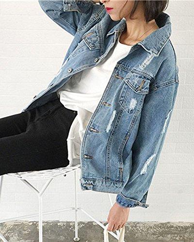 Di Sciolto Come Giubbotto Jeans Giacca Monopetto Immagine Strappati Donna Casual Denim xnz6UIWUqY