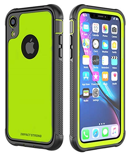 iPhone XR Case, ImpactStrong Ultra Protective Case with Built-in Clear Screen Protector Full Body Cover for iPhone XR 2018 6.1 inch (Lime Green)