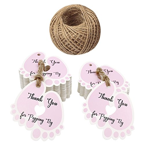 Thank You for Popping by Tags,Baby Shower Tags,100PCS Thank You Paper Gift Tags with 100 Feet Jute Twine (6x5.5 cm Pink)