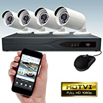 Dripstone 8 Channel 1080p TVI DVR Security System with 4x 1080p HD Bullet Camera 3.6mm Lens 100FT Night Vision With 1TB Hard Drive IP66 Weatherproof …