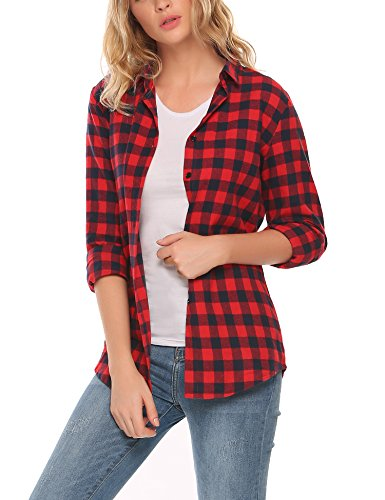 - Zeagoo Womens Basic Long Sleeve Cotton Button Down Collared Shirt Plaid Flannel Tops Red/S