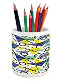 Ambesonne Modern Pencil Pen Holder, Geometrical Retro 80s Themed Image with Lines Circles and Spots Print, Printed Ceramic Pencil Pen Holder for Desk Office Accessory, Blue Yellow and Black