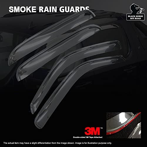 4 Pack Black Horse 140660 Smoke Rain Guard