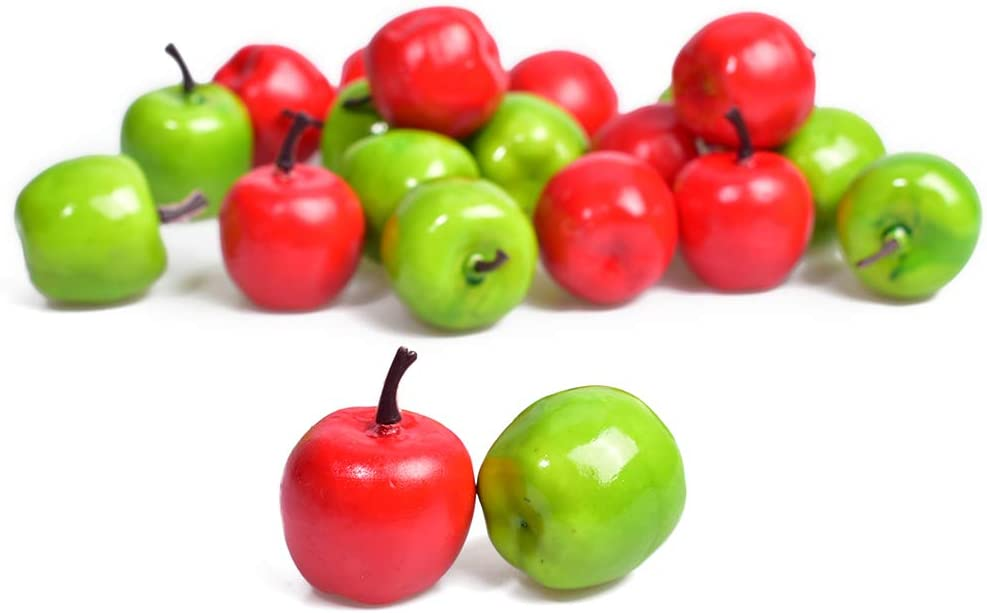 HAIOPS Mini Artificial Apple Fake Fruit Simulation Home Kitchen Party Decor 20PCS (Green and Red)