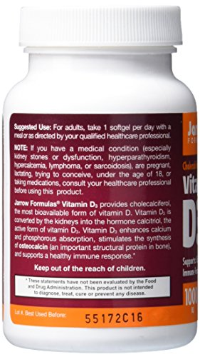 Jarrow Formulas Vitamin D3 1000 Iu Softgels, 200 Count