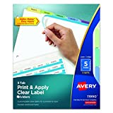 Avery Index Maker Clear Label Dividers, 5-Tab, Multi-Color, 5 Sets (11990)