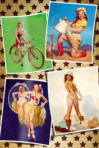 4 Classic 50'S Pin-Up Girls Poster sexy western appeal bicycle