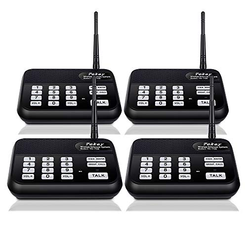 (Wireless Intercom System (New Version), TekeyTBox 1800 Feet Long Range 10 Channel Digital FM Wireless Intercom System for Home and Office, Walkie Talkie System for Outdoor Activity (4 Stations Black))