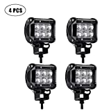 TURBOSII Spot 4In Pods Cube Square Led Work Light Bumper Grill Off Road Backup Reverse Fog Lights Auxiliary Driving Headlights for Emergency Light Truck Motorcycle Jeep Wrangler Boat Tractor 12v-24v