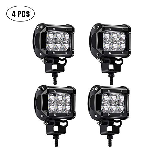 TURBOSII 4Pcs 4Inch Spot Beam 18W Led Work Light Bar Pods Cube Driving Fog Lights For Ford Jeep Toyota Polaris RZR Ranger Can Am Boat Offroad 4wd Truck Pickup SUV Van ATV UTV Tractor Lamp 12-24V (Turbo Kit 800)