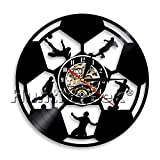 Soccer Wall Clock 3D Football Players Vinyl Record LP Clock Footballer Sports Vinyl Record Wall Art Housewarming Gift For Soccer Fan (Without LED)