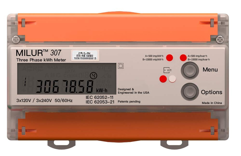 Milur 307 Electric kWh Three Phase Power Meter Smart Home 3x120v//240v 100A Energy Consumption Submeter