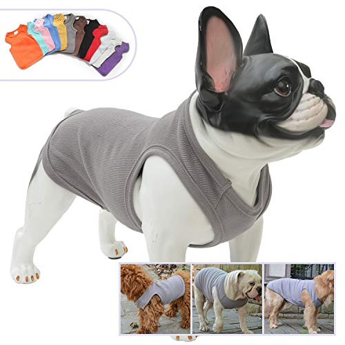 Lovelonglong 2019 Summer Pet Clothing, Dog Clothes Blank T-Shirts Ribbed Tanks Top Thread Vests for Large Medium Small Dogs 100% Cotton Darkgray S