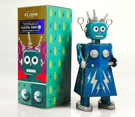 St. John Retro Electra Robot II Wind-Up Tin - Up Tin Wind