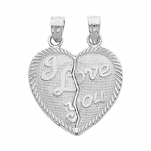 Large 925 Sterling Silver I Love You Breakable Broken Heart Pendant Charm (Pendant Broken Heart)