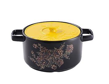 TFguo estofado Cacerola Cerámica Cazuela de Fuego Abierto Gachas de Avena Pote de Sopa para hervir de panadería Pot de pote de harina de Alta Capacidad para ...