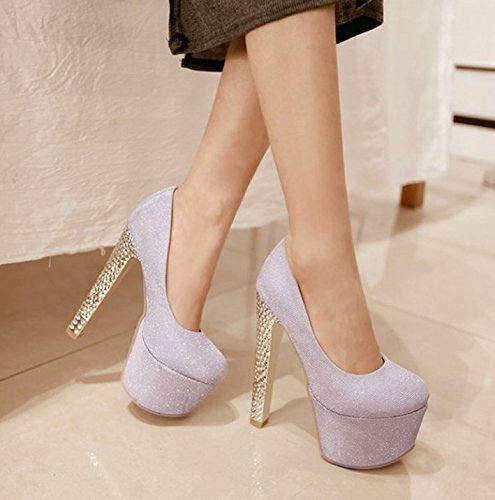 Spring High Night Heel Heels Shop Leisure Shoes Rough Platform Shoes Single Purple Wedding Waterproof 35 MDRW Sexy 15Cm Elegant Lady Work WOq6IFq