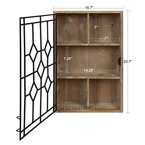 Kate and Laurel Megara Wooden Wall Hanging Curio Cabinet for Open Storage with Decorative Black Iron Door, Rustic Brown