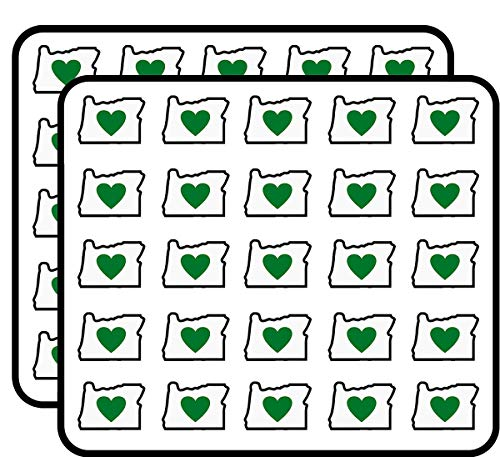 Oregon Shape with Green Heart in Middle (or Love Native) Sticker for Scrapbooking, Calendars, Arts, Kids DIY Crafts, Album, Bullet Journals