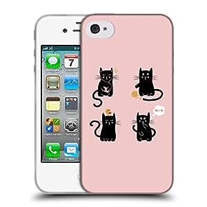 Super Galaxy Coque de Protection TPU Silicone Case pour // V00000741 Ilustración linda del gato Negro // Apple iPhone 4 4S 4G