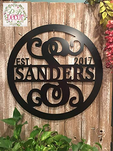 (Personalized Last Name Sign Weatherproof 24 inch ACM Metal Monogram Letter Wall Decor Family Established Signs Custom Door Hanger Monogram Outdoor Patio Sign Wedding Gift)