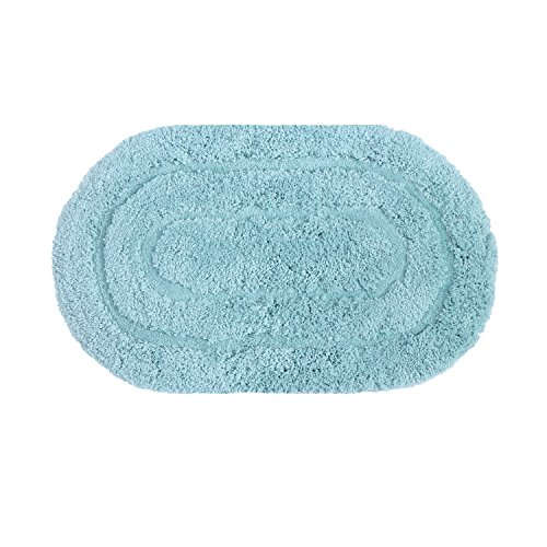 - ADUTY 19.6''x31.5'' Bath Non-slip Oval Mat Bathroom Printed Carpet Entrance Floor Soft Mats Shower Door Pad (MAT023-Light Blue)
