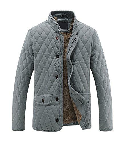 浸食さわやかぞっとするようなメンズ 裏ボア コート ジャケット アウター カジュアル スタイリッシュ - キルティング 保温 防寒 詰め襟 コールテン ボタン ファスナー