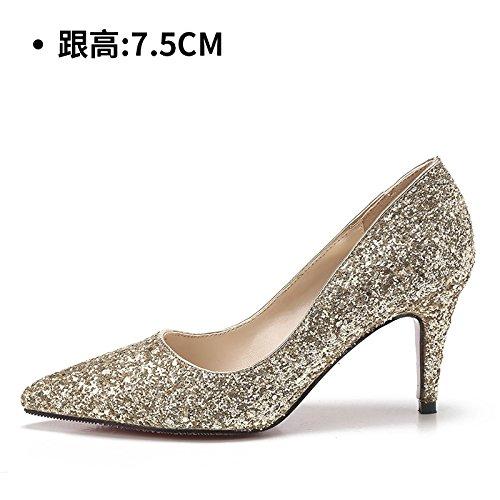 HUAIHAIZ Tacones de mujer Zapatos de boda hembra los zapatos de tacón alto Botas Zapatos de novia de cristal noche zapatos oro,35, 7.5CM 35|Gold 7.5CM