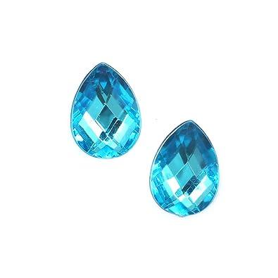 Idin Clip-on Earrings - Deep sky blue faceted teardrop clip-on earrings (approx. 14 x 10 mm) GNtmX