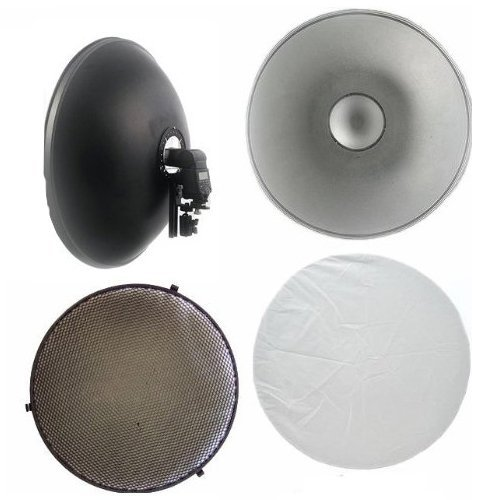 Cowboystudio 16in off Camera Flash Beauty Dish with Flash Bracket and Honeycomb Grid for Nikon and Canon Flashes