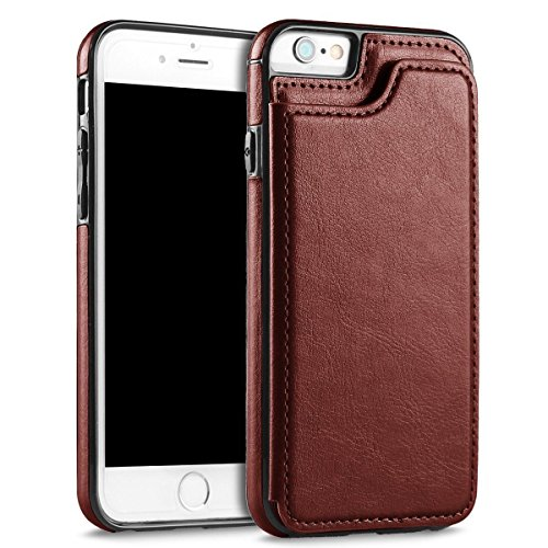 UEEBAI Case for iPhone 5 5S SE, Luxury PU Leather Case with [Two Magnetic Clasp] [Card Slots] Stand Function Durable Soft TPU Case Back Wallet Flip Cover for iPhone 5/5S/SE - Brown