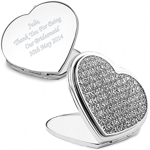 Personalised Diamante Heart Compact Mirror by Pmc - Personalised Compact Mirrors