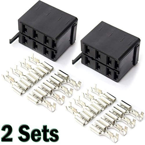Spade 2 Terminal (Gietop GI1407 2 Sets 2x8pcs Female Spade 6.3mm Terminal + 2 Rocker Switch Plug Socket ARB Carling)