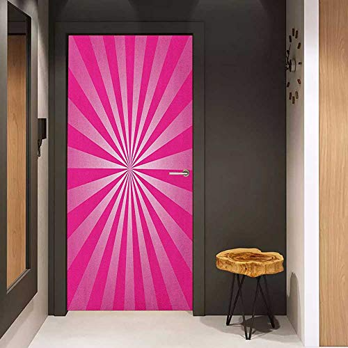 Onefzc Wood Door Sticker Hot Pink Retro Style Sunrays Inspired Pattern Grunge Effect Radial Design Stripes Easy-to-Clean, Durable W23 x H70 Hot Pink and White ()