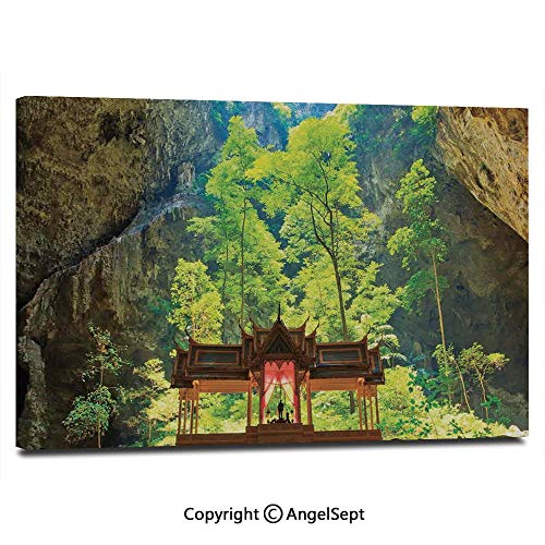 Home Decoration Painting Wall Mural Latent Pavilion in Between The Cliffs Discovery of Faith in The Nature Art Picture Living Room Dining Room Studying Aisle Painting,16