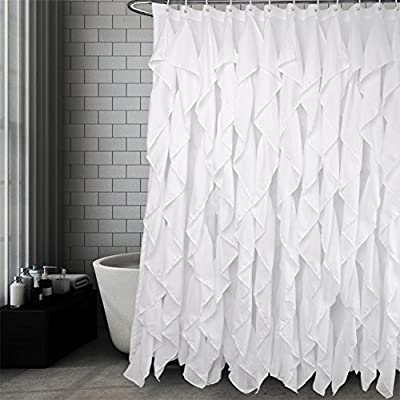 Volens White Ruffle Shower Curtain Farmhouse Fabric Cloth Shower Curtains for Bathroom, 72x72 in Long - WHITE SHOWER CURTAIN ❤️ Keep Privacy: No see through to provide a relax and private space, have your own space when you take a bath to enjoy yourself. The waterfall texture perfect to decor your farmhouse theme bathroom. FABRIC SHOWER CURTAIN ❤️ Quality Material: Made by 100% polyester to ensure quick dry and durability. Lightweight, soft touch and detailed workmanship, long service life. LONG SHOWER CURTAIN ❤️ Large Enough: It measures W71 x L71 inch, easy to fit most of bathrooms and tubs. Full coverage to spread around and prevent water from splashing onto the floor. - shower-curtains, bathroom-linens, bathroom - 51jP6lF0XLL. SS400  -