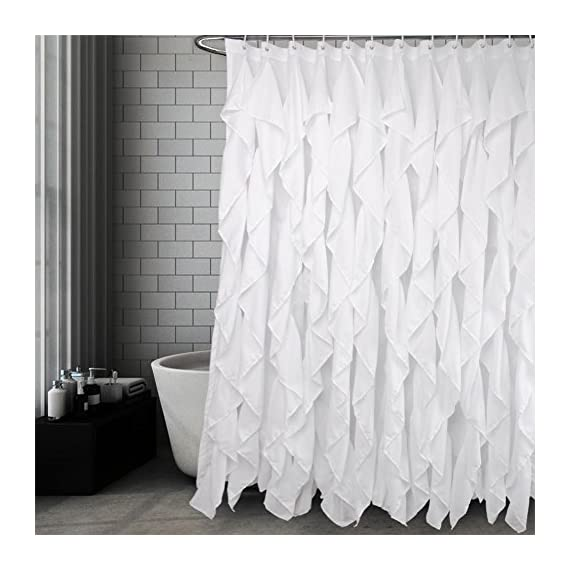 Volens White Ruffle Shower Curtain Farmhouse Fabric Cloth Shower Curtains for Bathroom, 72x72 in Long - WHITE SHOWER CURTAIN ❤️ Keep Privacy: No see through to provide a relax and private space, have your own space when you take a bath to enjoy yourself. The waterfall texture perfect to decor your farmhouse theme bathroom. FABRIC SHOWER CURTAIN ❤️ Quality Material: Made by 100% polyester to ensure quick dry and durability. Lightweight, soft touch and detailed workmanship, long service life. LONG SHOWER CURTAIN ❤️ Large Enough: It measures W71 x L71 inch, easy to fit most of bathrooms and tubs. Full coverage to spread around and prevent water from splashing onto the floor. - shower-curtains, bathroom-linens, bathroom - 51jP6lF0XLL. SS570  -