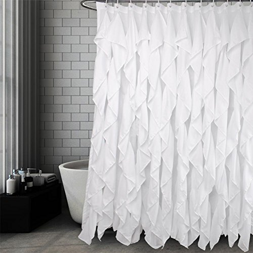 Volens White Ruffle Shower Curtain Farmhouse Fabric Cloth Shower Curtains for Bathroom, 72x72 in - Curtain Ruffle Shower